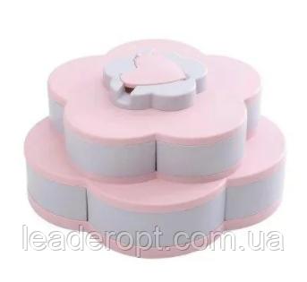 ОПТ Органайзер для сладостей Candy Box 2 яруса Вращающаяся коробка для хранения сладостей и закусок менажница