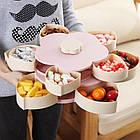 ОПТ Органайзер для сладостей Candy Box 2 яруса Вращающаяся коробка для хранения сладостей и закусок менажница, фото 6