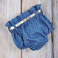 Шорти блумеры на памперс, джинс блакитний 0-3 (62 розмір)