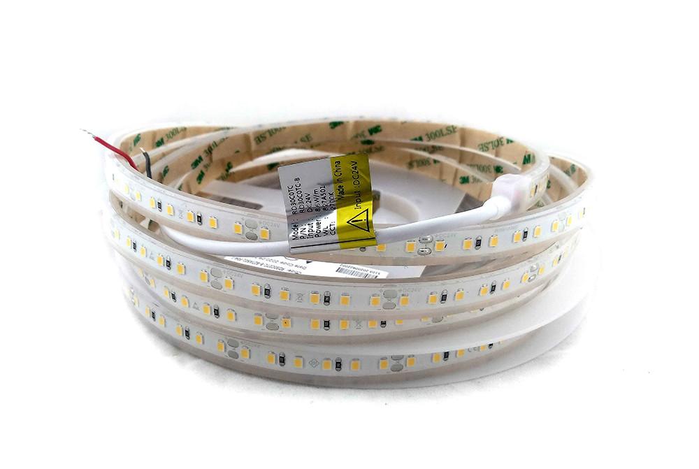 Світлодіодна герметична стрічка 24вольт 8.6 Вт 745лм 2835-120-IP67-WW-10-24 RD30C0TC-B 2700K CRI90 13909