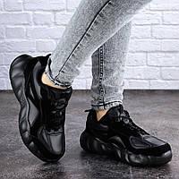 Кроссовки женские черные/ на массивной подошве/ повседневные/ эко-кожа/ 36, 37, 38, 39, 40 размеры