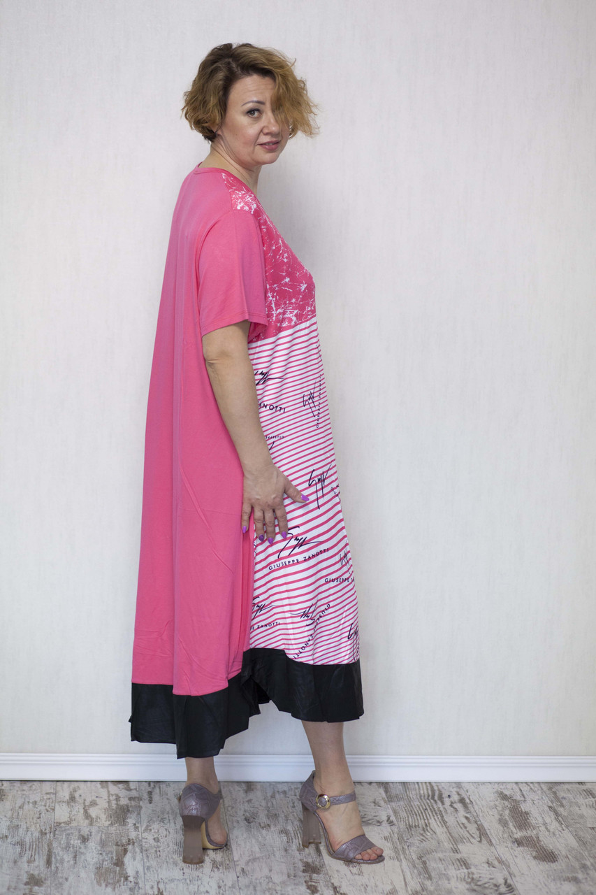 Красиве жіноче плаття баталл в смужку