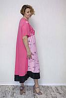 Красиве жіноче плаття баталл в смужку, фото 1