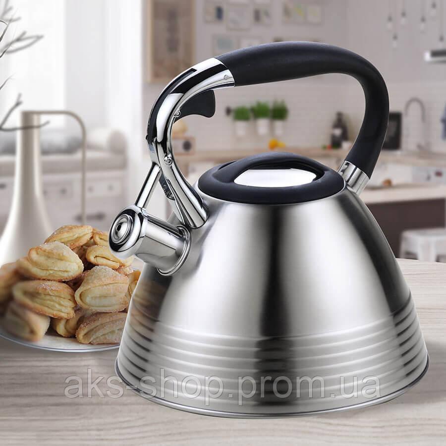 Чайник для плити зі свистком Maestro Rainbow MR-1315 нержавіюча сталь 3,0 л