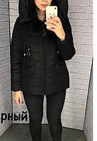 Жіноча куртка з капюшоном весна-осінь розмір 52 колір чорний