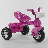 Трехколесный велосипед Pilsan 07-140 (1) цвет МАЛИНОВЫЙ, пластиковые колеса с прорезиненой накладкой,