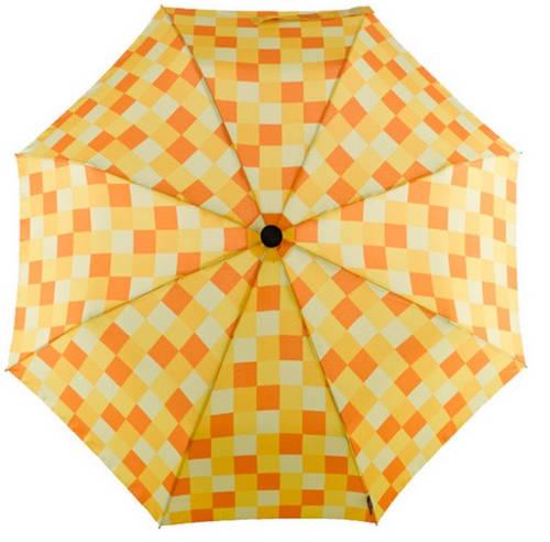 Яркий оригинальный механический зонт-трость в клетку EuroSCHIRM Swing Liteflex W2L6-CWS3/SU18255 оранжевый