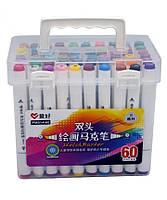 Набор двухсторонних фломастеров/скетч маркеров 60 шт/цветов, AIHAO PM514-60 Sketch marker