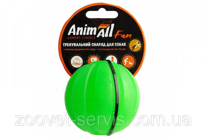 Игрушка для собак мяч тренировочный АнимАлл Фан зеленый Ø 7 см, фото 2