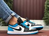 Низькі баскетбольні кросівки Air Jordan  Low 1 Retro  White Black Blue, фото 4