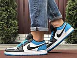 Низькі баскетбольні кросівки Air Jordan  Low 1 Retro  White Black Blue, фото 5
