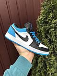 Низькі баскетбольні кросівки Air Jordan  Low 1 Retro  White Black Blue, фото 6