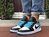 Низькі баскетбольні кросівки Air Jordan  Low 1 Retro  White Black Blue, фото 3