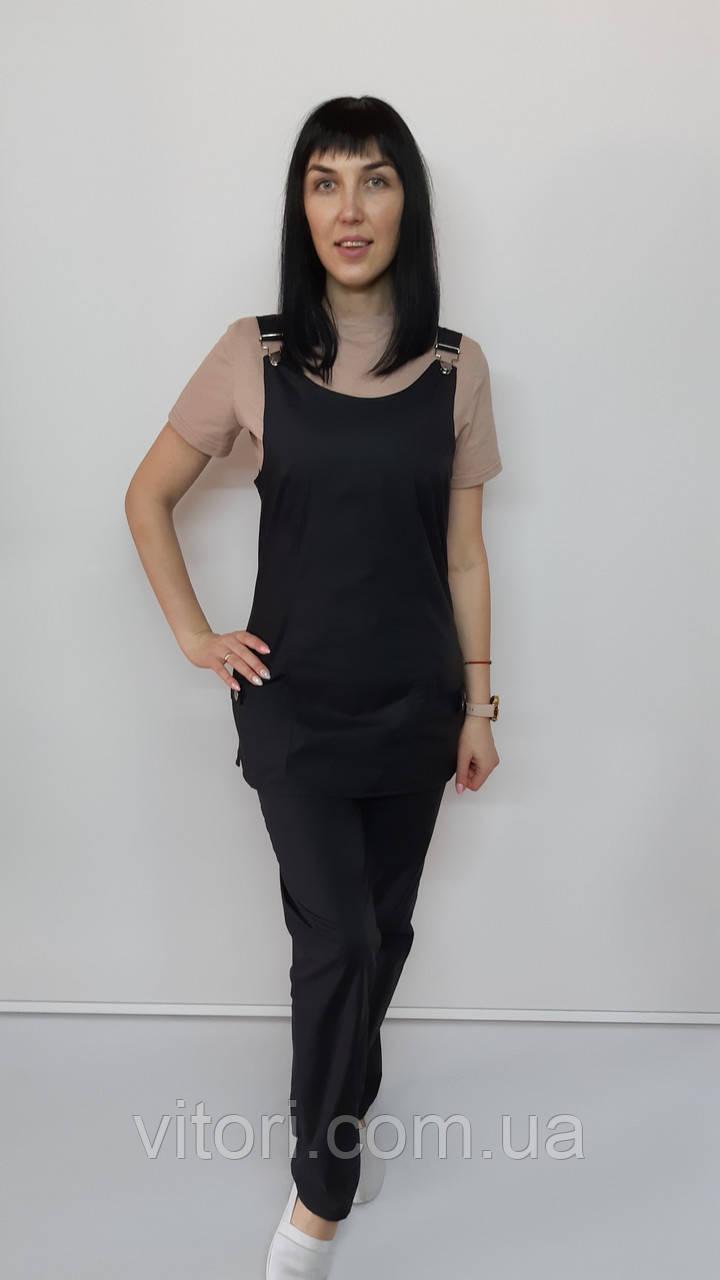 Жіночий медичний костюм Заріна коттон бежева футболка