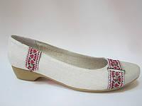 Туфли из конопли женские «Лодочка «Ремешок-орнамент» с кожаным носком