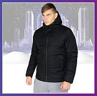 Куртка мужская зимняя Glacier теплая с капюшоном, пуховик мужской зимний черный