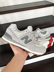 Мужские кроссовки New Balance 574, светло-серые / мужские кроссовки Нью Баланс (Топ реплика ААА+)