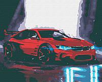 Картина за номерами Червона БМВ, кольоровий полотно на картоні, 40*50 см, без коробки RB