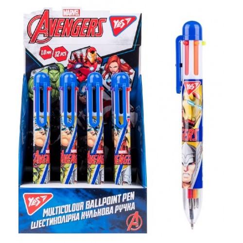 Ручка шариковая автоматическая YES 412049 1мм Marvel 6 цветов (12/120)