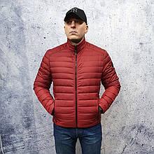 Мужская демисезонная куртка Vavalon kd-2009. Мужская стеганая куртка красного цвета.