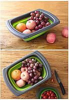 Складная силиконовая мойка JM–608 -корзина для мытья фруктов и овощей со сливом и пробкой-заглушкой Зелёный