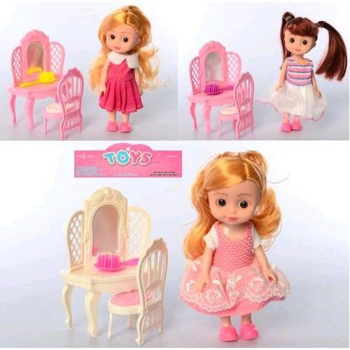 Кукла маленькая W800 15см трюмо12см стул расческа 3вида в шарик 16 5-20-4см