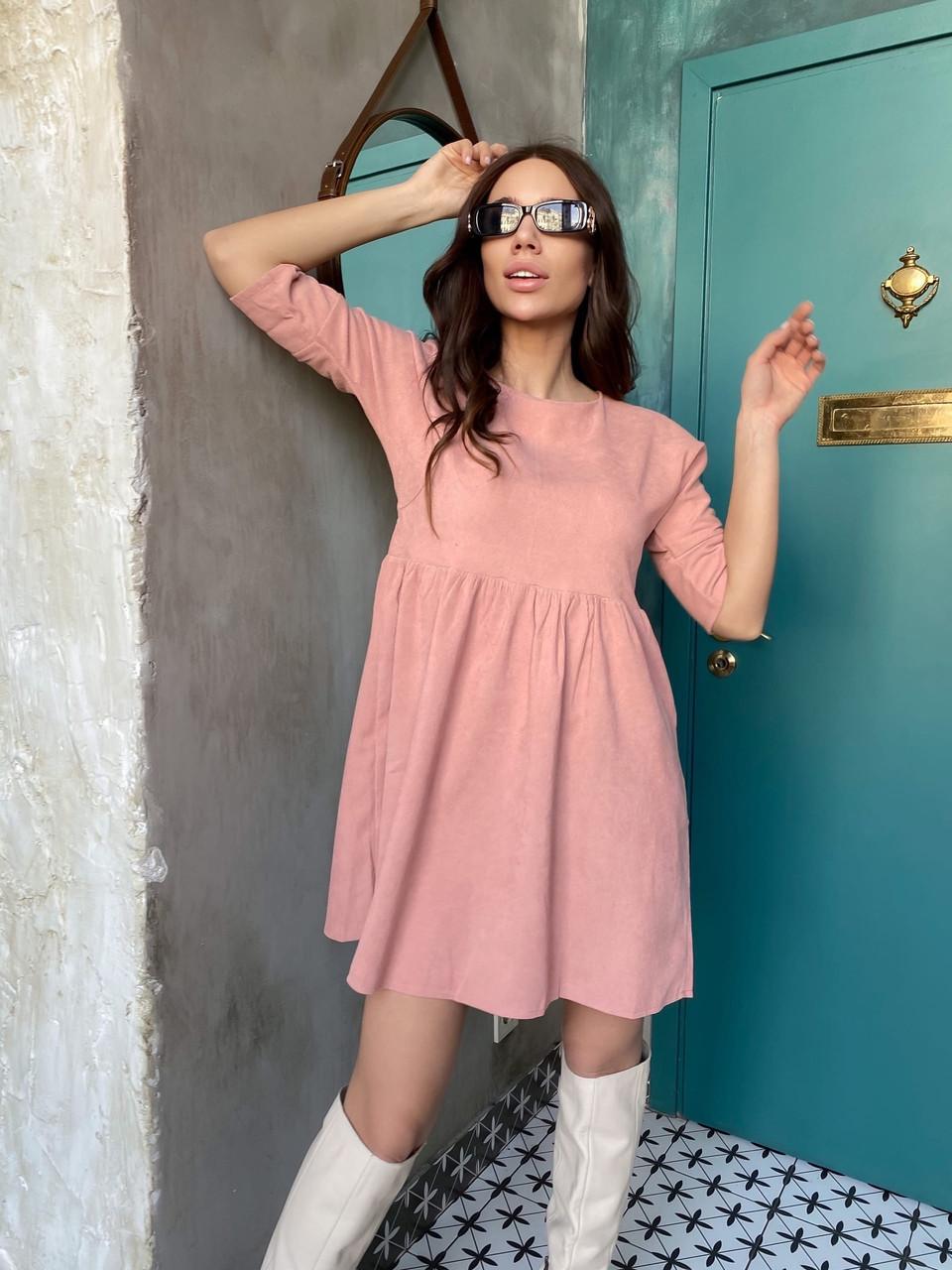 Вельветове плаття із завищеною талією 13-256