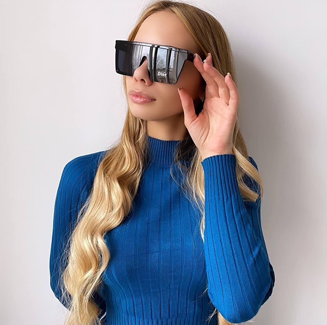 Жіночі чорні сонцезахисні окуляри (маска)