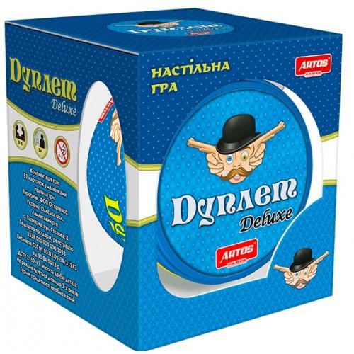 Игра настольная семейная веселая динамичная ТМ Artos в тубе Дуплет Deluxe 15 * 15 * 8 см мовонезалежна