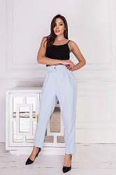 Женские голубые брюки-галифе с завышенной талией