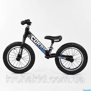 Детский велобег CORSO 32839 стальная рама, колеса надувные резиновые, алюминиевые диски и вынос руля, фото 2