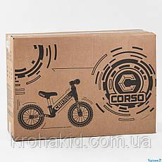Детский велобег CORSO 32839 стальная рама, колеса надувные резиновые, алюминиевые диски и вынос руля, фото 3