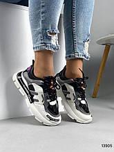 Женские кроссовки черные с белым