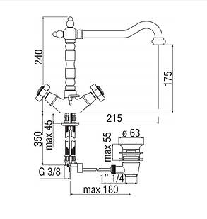 Змішувач для умивальника Nobili RITZ (RI49117-1CR), фото 2