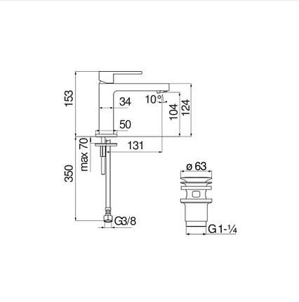 Змішувач для умивальника Nobili Up (UP94118-3CR) хром, фото 2