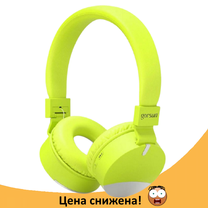 Бездротові навушники Gorsun GS-E86 - Bluetooth стерео навушники з MP3 плеєром і FM радіо (Салатові) Топ