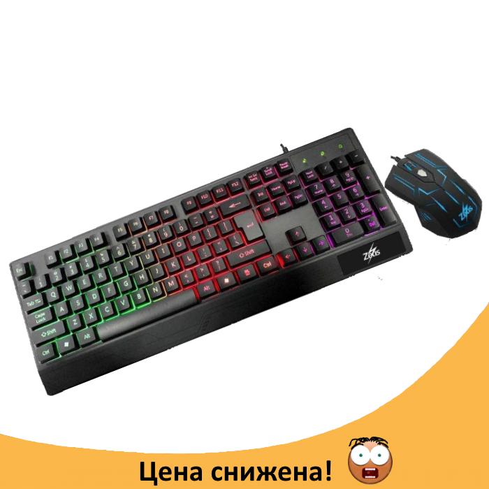 Клавіатура Zeus M710 + мишка. Російська дротова клавіатура з підсвічуванням. Топ