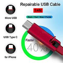 Восстанавливаемый зарядный дата кабель для Type-C  1,5 m Reborn, фото 2