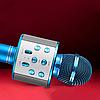 Мікрофон караоке Wester WS-858 - бездротової Bluetooth мікрофон для караоке з плеєром Блакитний Топ, фото 5