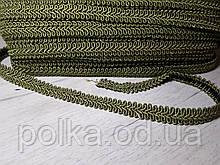 """Цветная тесьма """"косичка"""" оливка ,ширина 1.2см(1уп-50метров)"""