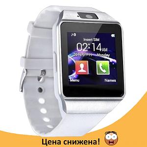 Розумні годинник Smart Watch DZ-09 White - смарт годинник під SIM-карту і карту SD (Білі) Топ