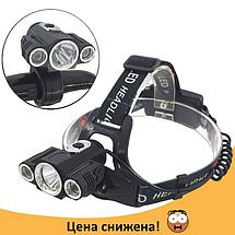 Фонарь налобный Bailong Police W602-T6 - налобный фонарик на 3 диода (поворотные) + Крепление для велосипеда, фото 2