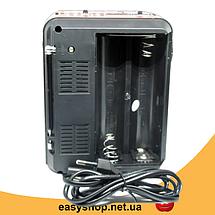 Радіоприймач Golon RX-9133 - радіоприймач від мережі з акумулятором і ліхтариком, портативна USB колонка Топ, фото 3