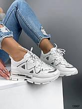 Женские кроссовки белые эко замша
