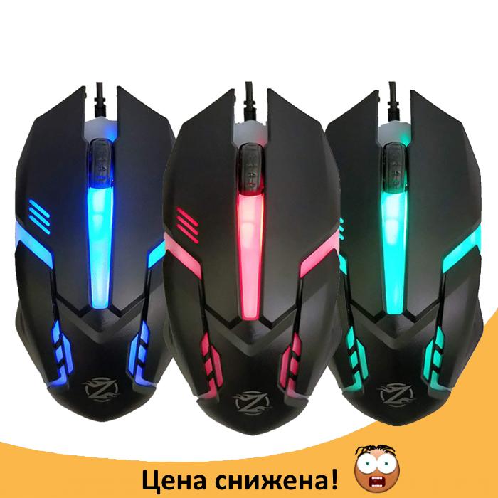 Ігрова мишка Zornwee GM02 c підсвічуванням 5 кольорів Чорна Топ