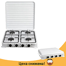 Газовая плита настольная таганок Domotec MS-6604 на 4 конфорки (Белая с крышкой), фото 2