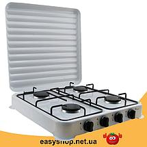 Газова плита настільна таганок Domotec MS-6604 на 4 конфорки (Біла з кришкою) Топ, фото 3