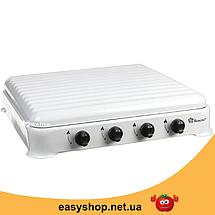 Газова плита настільна таганок Domotec MS-6604 на 4 конфорки (Біла з кришкою) Топ, фото 2