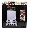 Газова плита настільна таганок Domotec MS-6604 на 4 конфорки (Біла з кришкою) Топ, фото 6