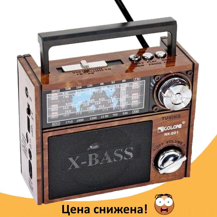 Радіоприймач GOLON RX-201 - портативний радіоприймач колонка MP3 з USB, акумулятором і Led-ліхтариком Топ